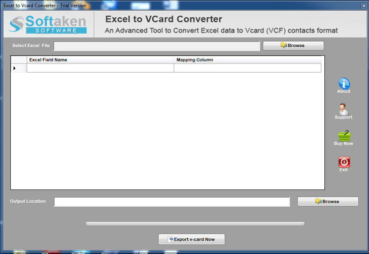 Windows 7 Softaken Excel to VCF Converter 1.0 full