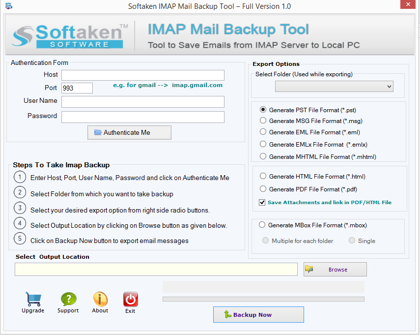 Softaken Cloud Mail Backup Screenshot