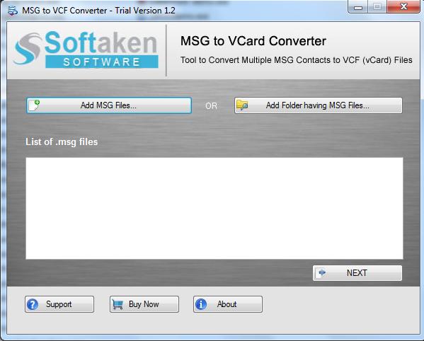 MSG to vCard Converter full screenshot