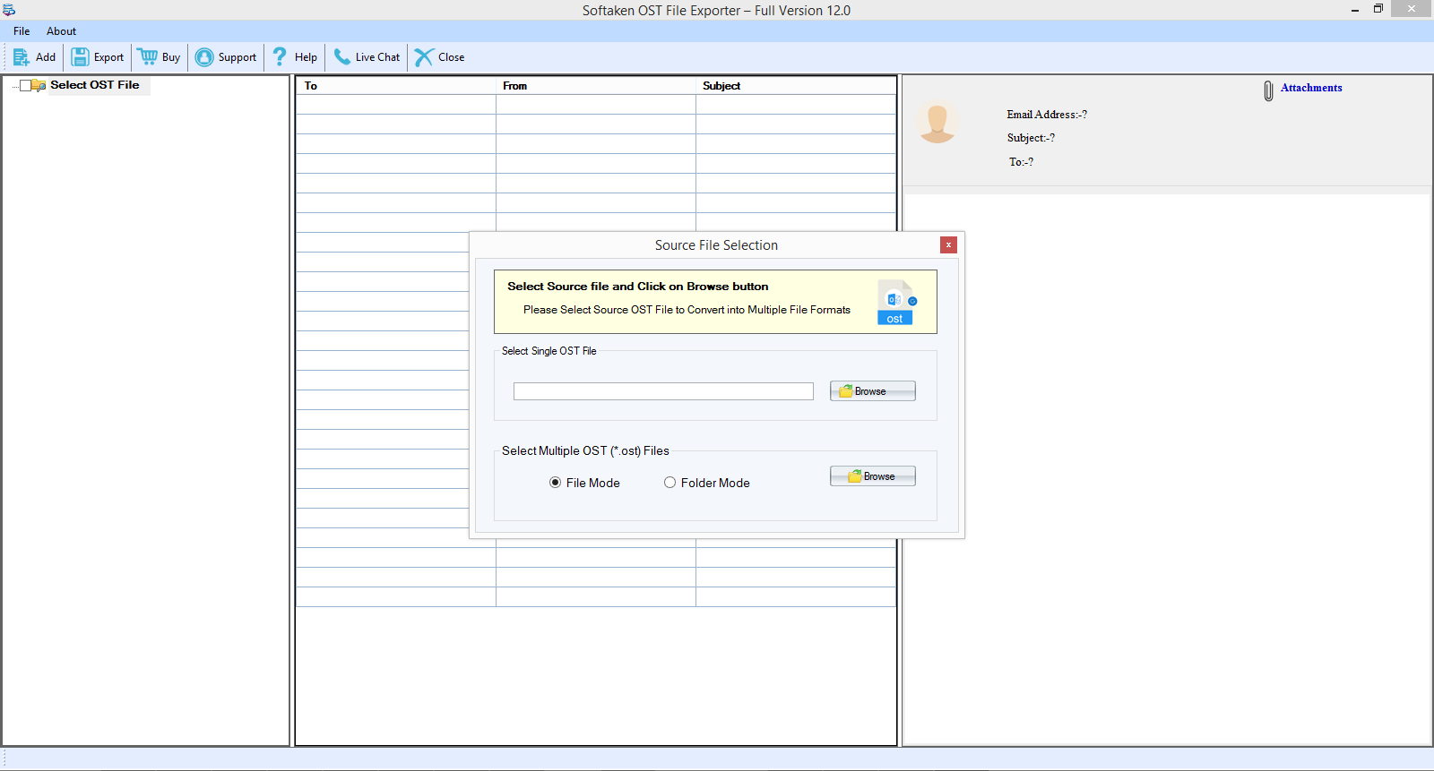 OST to EML Converter full screenshot