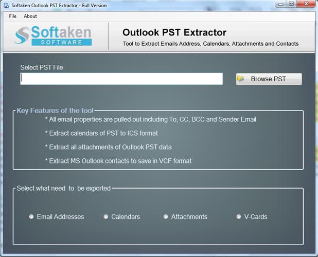 Softaken Outlook Attachment Extractor full screenshot