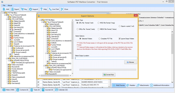 Outlook PST to EML full screenshot