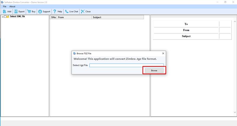 Softaken Zimbra to Outlook Converter full screenshot